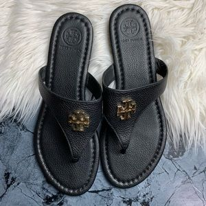 Tory Burch Laura Flat Thong Sandal size 7.5 Black